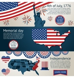 set - 4th july banners vector image