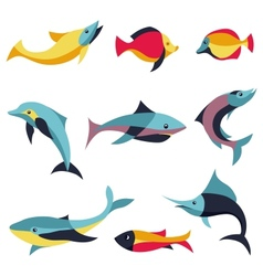 set logo design elements - fishes signs vector image