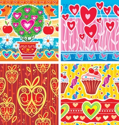 set of pattern with hearts vector image