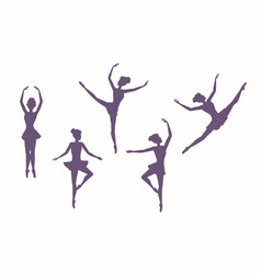 set silhouettes dancing girls on a white vector image