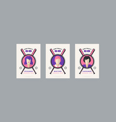 Set softball card design in retro style vector