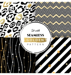 Set with seamless golden pattern vector image