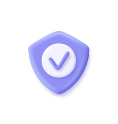 Shield check mark icon 3d security guaranteed vector