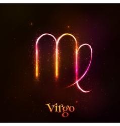 Shining neon zodiac Virgo symbol vector image