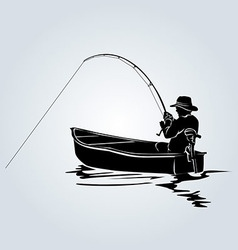 Silhouette of a fisherman in a boat vector