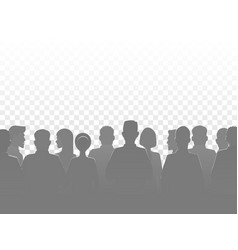 silhouette people group crowd silhouettes vector image