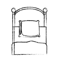 Single bed pillow bedding sketch vector