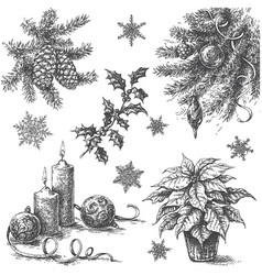 Sketch of christmas decorations vector