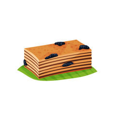 Slice of layered cake quay lapis with prunes on vector