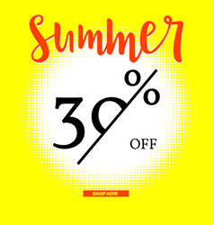 Summer sale poster with thirty percent discount on vector
