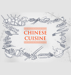 template different types chinese cuisine for vector image