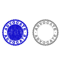 Textured advocate grunge stamp seals with ribbon vector