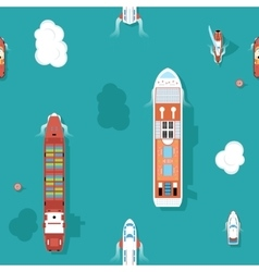 Top view sea ships seamless background vector