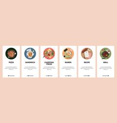 Top view world cuisine meals food menu in vector