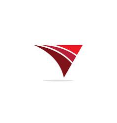 triangle curve shape company logo vector image