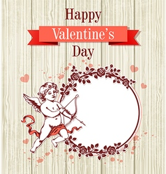 Vintage hand drawn Valentine card vector image