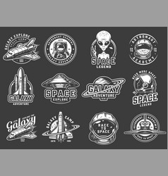 vintage space exploration logos set vector image