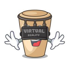 Virtual reality conga mascot cartoon style vector