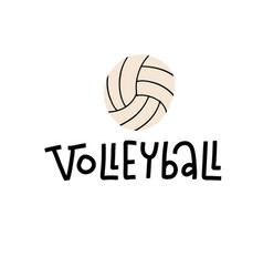 Volleyball lettering text on white background vector