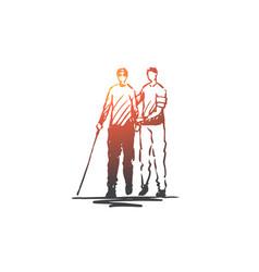Volunteer adult care blind help concept vector
