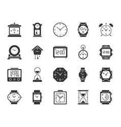 watch black silhouette icons set vector image
