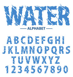 Water drops alphabet modern futuristic splash vector