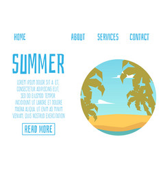 website page banner for summer vacation and vector image