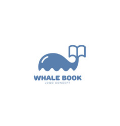 Whale book logo vector