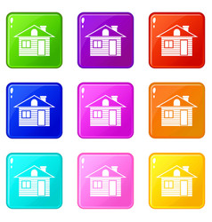 Wooden log house icons 9 set vector