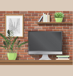 Work table with computer and indoor plants vector