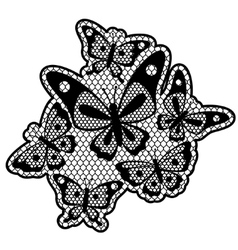 Black lace design with butterflies isolated on vector image