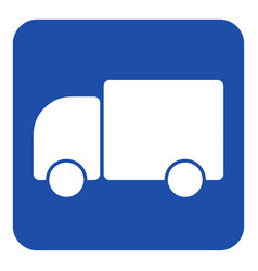 blue white information sign - lorry car icon vector image