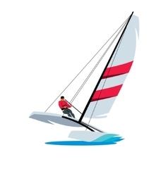 Catamaran and athlete at sea sign vector image