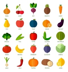 Colorful flat fruits and vegetables icons set vector image