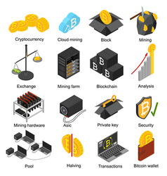 cryptocurrency mining blockchain 3d icons set vector image