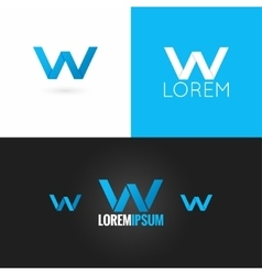 letter W logo design icon set background vector image