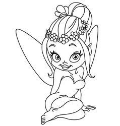 outlined flower fairy vector image vector image