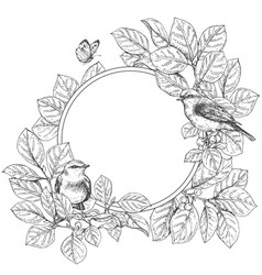 round floral frame with birds vector image vector image