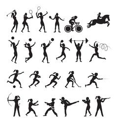 Sports athletes women symbol silhouette set vector