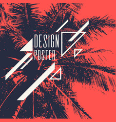 vintage poster with palm tree and geometric shapes vector image