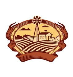 agriculture landscape icon vector image vector image