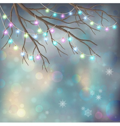 Christmas Light Bulbs on Xmas Night Background vector image vector image