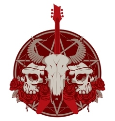 guitar and skull of goat and human vector image vector image