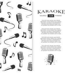 karaoke club brochure design - musical banner with vector image vector image