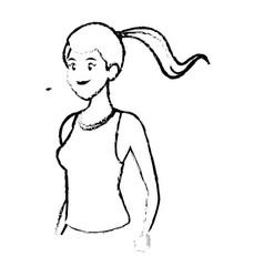 sketch sport girl healthy lifestyle design vector image