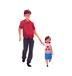 Young dad holding his little daughter hand and vector