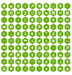 100 shield icons hexagon green vector