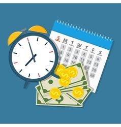 Alarm clock calendar money vector