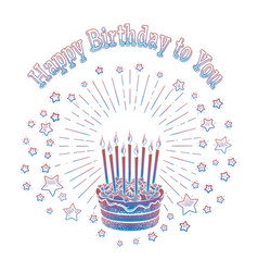 birthday cake and stars card template vector image vector image