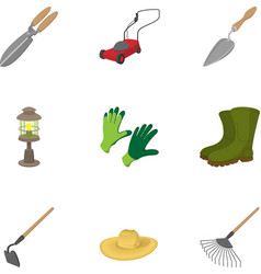 Farming icons set cartoon style vector image